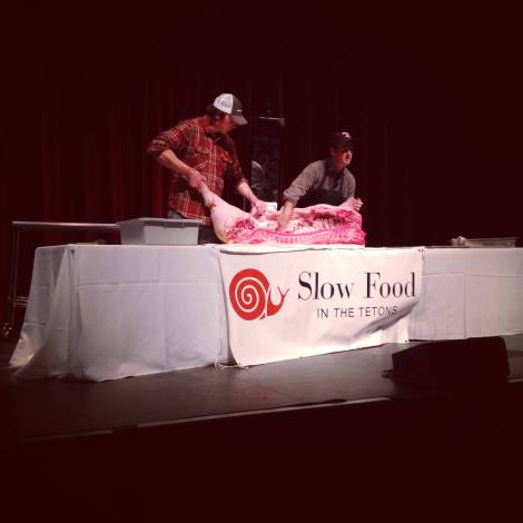 Butchering demo at Slowtoberfest, helping the community learn to engage in Slow Food